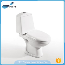 P-trap toilet bowl with water tank
