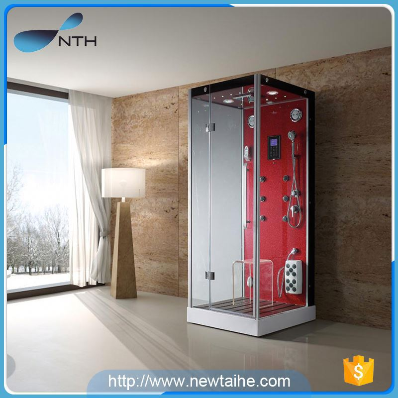 NTH factory direct sale custom made holiday house glass square steam shower cabin with top shower