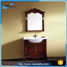 Solid wood luxury antique bathroom furniture with cabinet